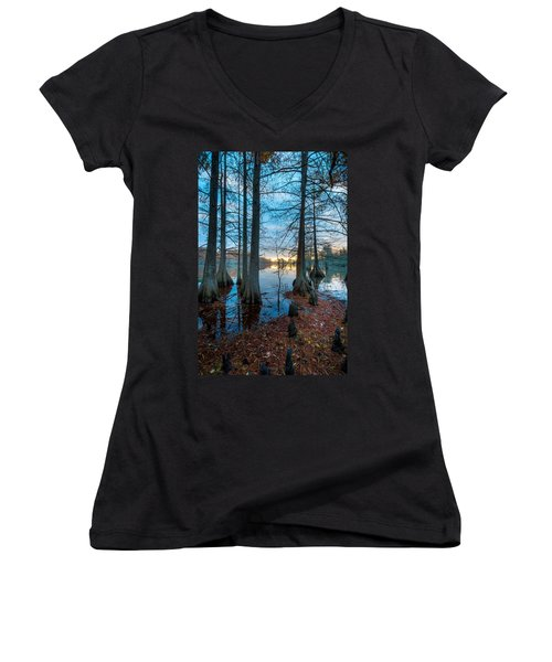 Steinhagen Reservoir Vertical Women's V-Neck T-Shirt