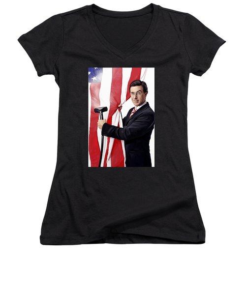 Women's V-Neck T-Shirt (Junior Cut) featuring the painting Stephen Colbert Artwork by Sheraz A