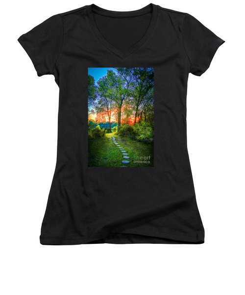 Stepping Stones To The Light Women's V-Neck T-Shirt