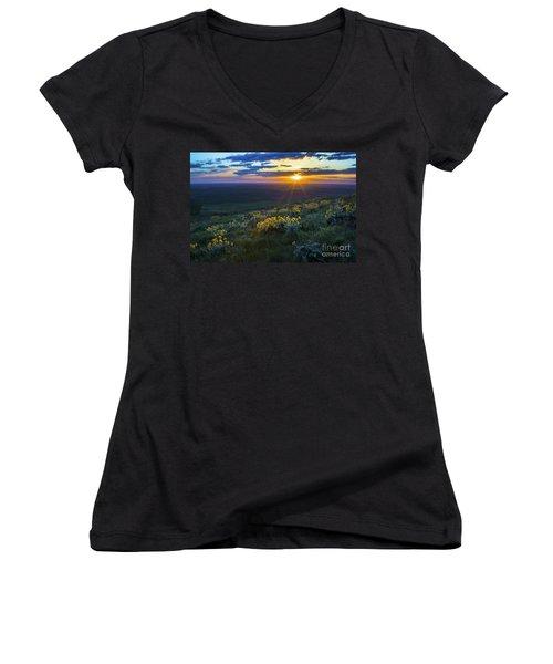 Steptoe Sunset Women's V-Neck T-Shirt (Junior Cut) by Sonya Lang