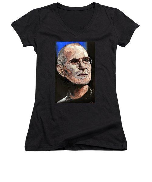 Women's V-Neck T-Shirt (Junior Cut) featuring the painting Steven Paul Jobs by Gordon Dean II