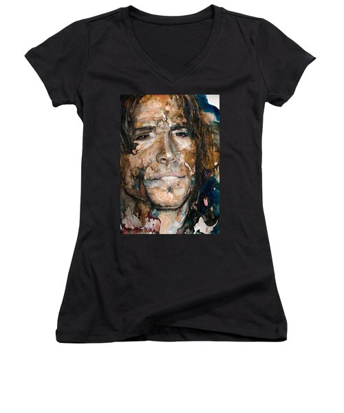 Women's V-Neck T-Shirt (Junior Cut) featuring the painting Get Your Wings by Laur Iduc