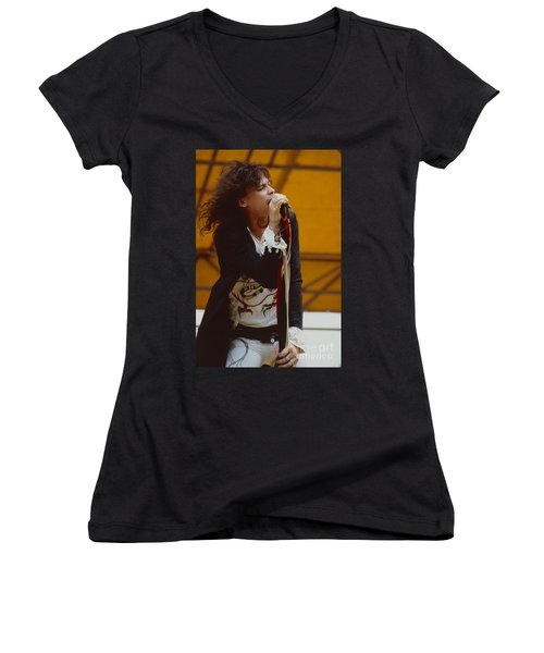 Steven Tyler Of Aerosmith At Monsters Of Rock In Oakland Ca Women's V-Neck (Athletic Fit)