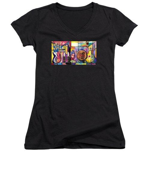 Still Life  / Carols Mantel Women's V-Neck T-Shirt (Junior Cut) by Everett Spruill