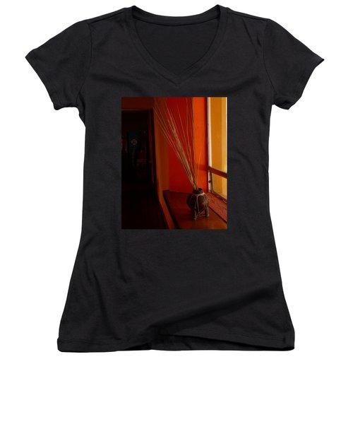 Women's V-Neck T-Shirt (Junior Cut) featuring the photograph Still Life In Baja by Alan Socolik