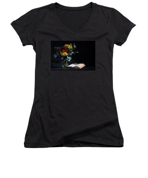 Still Life With Flowers Women's V-Neck T-Shirt