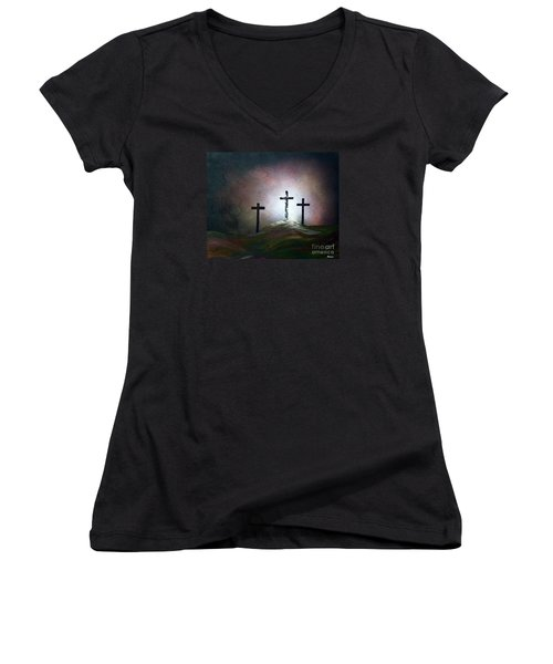 Women's V-Neck T-Shirt (Junior Cut) featuring the painting Still The Light by Eloise Schneider