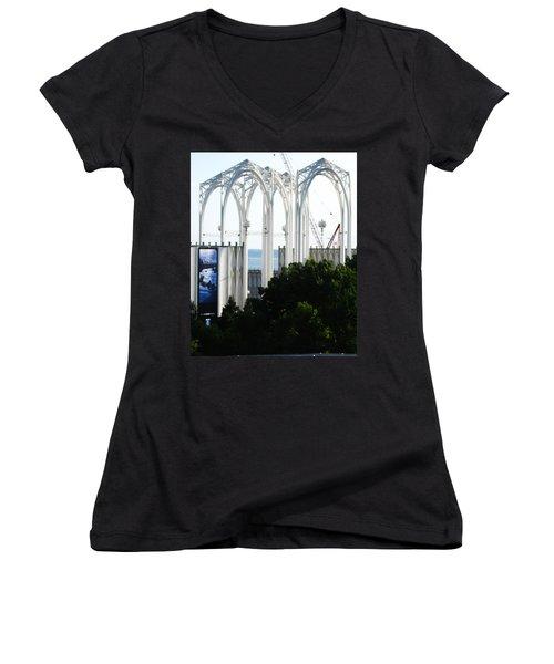 Still Under Construction Women's V-Neck T-Shirt (Junior Cut) by David Trotter