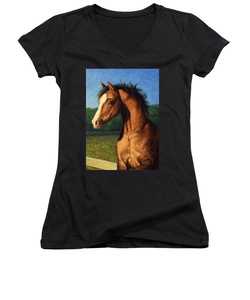 Women's V-Neck T-Shirt (Junior Cut) featuring the painting Stir Crazy by James W Johnson