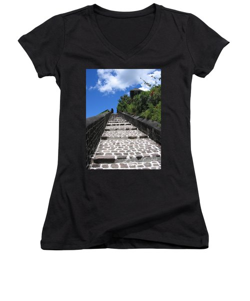 Women's V-Neck T-Shirt (Junior Cut) featuring the photograph St.kitts - Ascent by HEVi FineArt