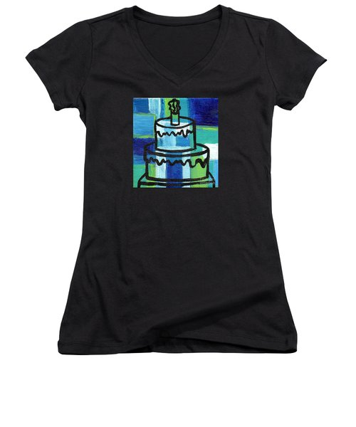 Stl250 Birthday Cake Blue And Green Small Abstract Women's V-Neck T-Shirt (Junior Cut) by Genevieve Esson