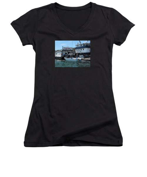Stocking Up On Live Bait Women's V-Neck T-Shirt (Junior Cut) by Cedric Hampton