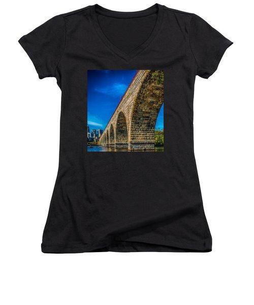 Stone Arch Bridge By Paul Freidlund Women's V-Neck T-Shirt