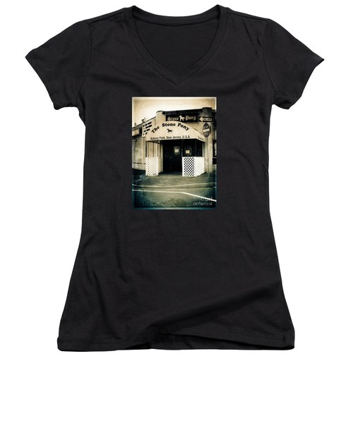 Stone Pony Women's V-Neck T-Shirt (Junior Cut) by Colleen Kammerer