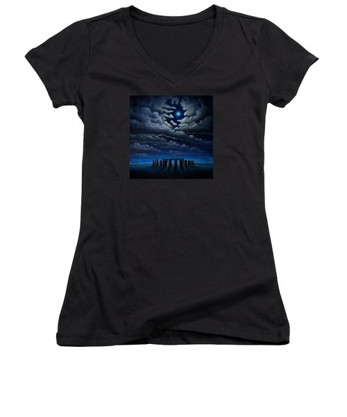 Women's V-Neck T-Shirt (Junior Cut) featuring the painting Stonehenge - The People's Circle by Ric Nagualero