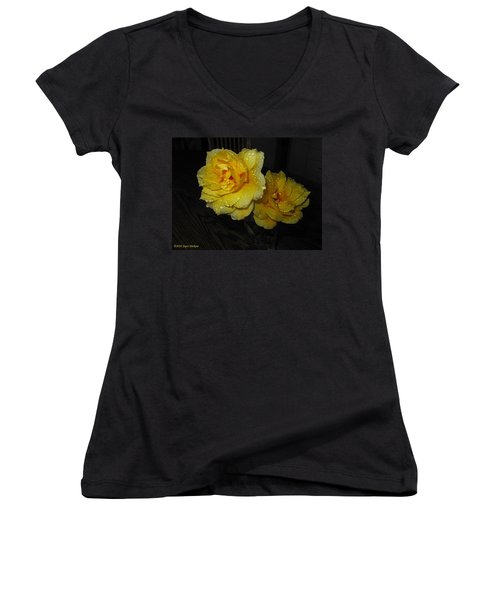 Stop And Smell The Roses Women's V-Neck T-Shirt (Junior Cut) by Joyce Dickens