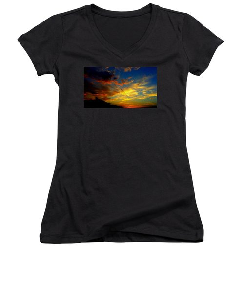 Women's V-Neck T-Shirt (Junior Cut) featuring the photograph Storm Brings Beauty by Chris Tarpening