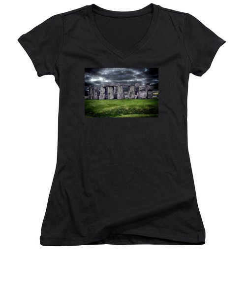 Storm Clouds Over Stonehenge Women's V-Neck