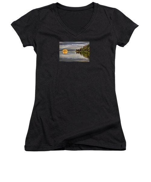 Storm Light Women's V-Neck T-Shirt (Junior Cut) by Alice Cahill