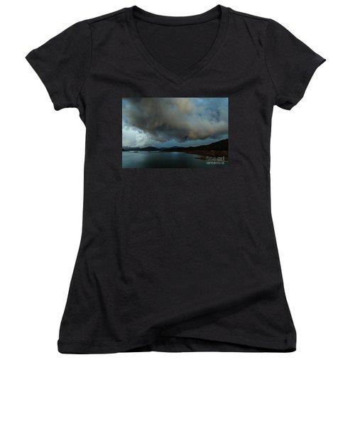 Storm Over Lake Shasta Women's V-Neck