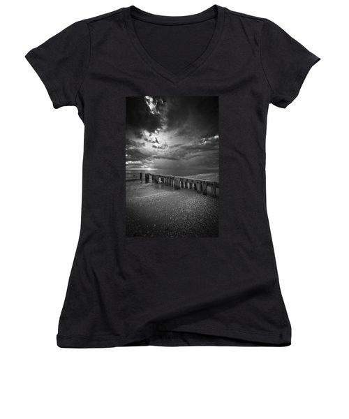 Storm Over Naples Florida Beach Women's V-Neck T-Shirt
