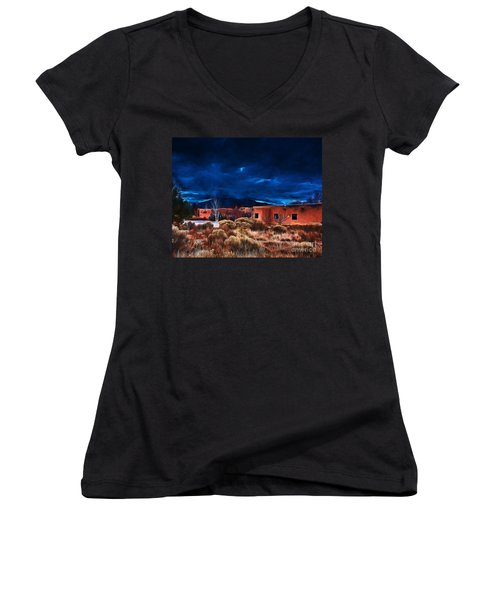 Storm Over Taos Lx - Homage Okeeffe Women's V-Neck