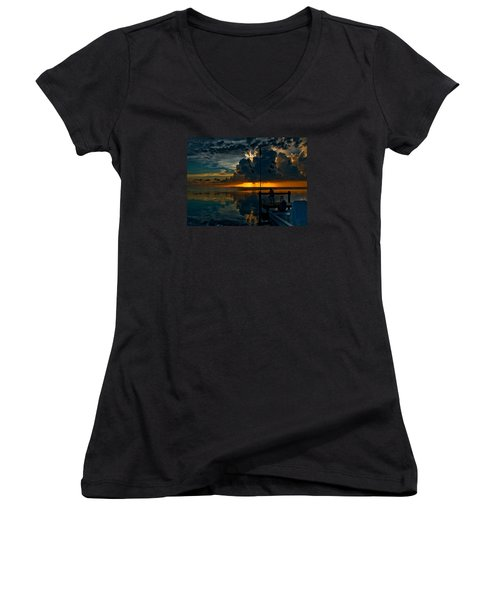 Sunset Tropical Storm And Watcher In Florida Keys Women's V-Neck T-Shirt