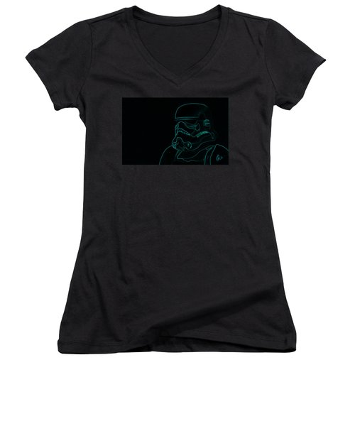 Women's V-Neck T-Shirt (Junior Cut) featuring the digital art Stormtrooper In Teal by Chris Thomas
