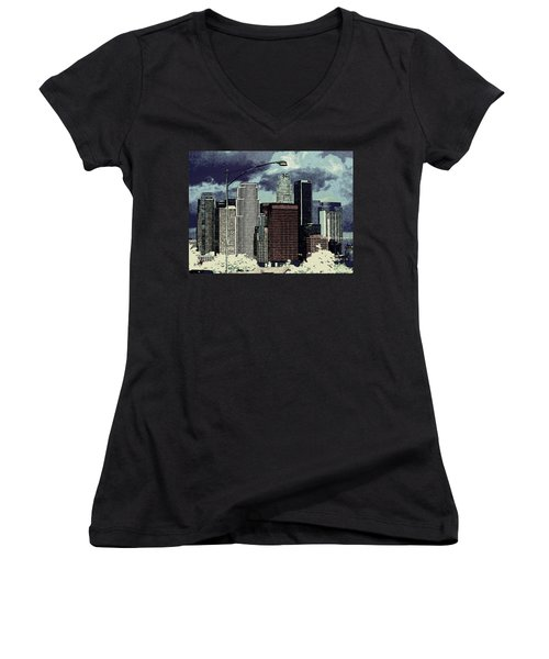 stormy Los Angeles from the freeway Women's V-Neck T-Shirt (Junior Cut) by Jodie Marie Anne Richardson Traugott          aka jm-ART