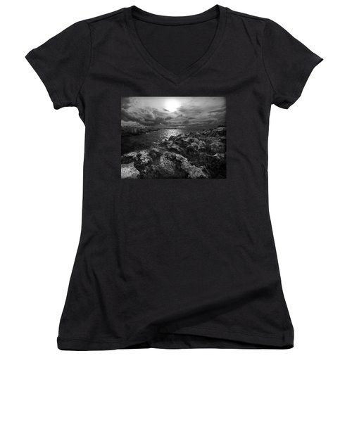 Blank And White Stormy Mediterranean Sunrise In Contrast With Black Rocks And Cliffs In Menorca  Women's V-Neck T-Shirt (Junior Cut) by Pedro Cardona