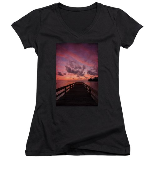 Stormy Sunset Women's V-Neck T-Shirt