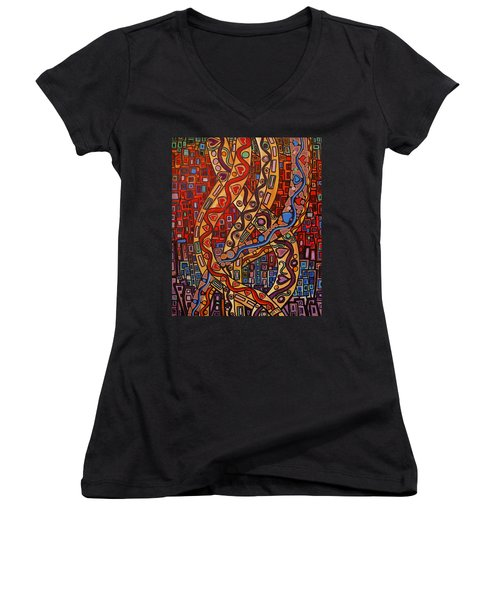 Women's V-Neck featuring the painting Story Lines by Barbara St Jean