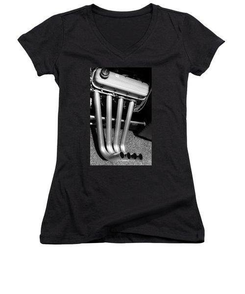 Straight Pipes - Chevrolet Engine Headers Women's V-Neck T-Shirt (Junior Cut)