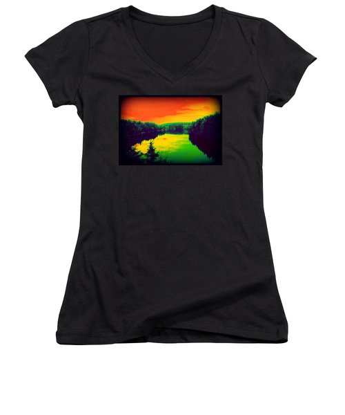 Strange River Scene Women's V-Neck (Athletic Fit)