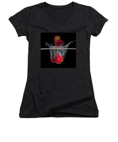 Strawberries Splashing In Water Women's V-Neck T-Shirt