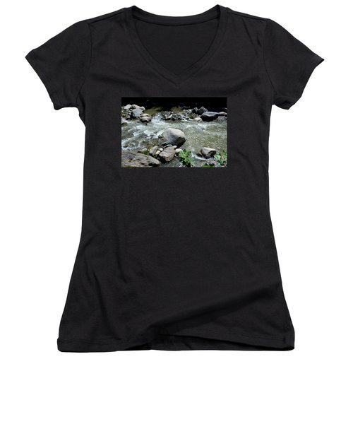 Women's V-Neck T-Shirt (Junior Cut) featuring the photograph Stream Water Foams And Rushes Past Boulders by Imran Ahmed