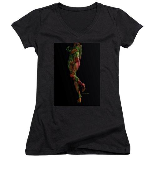 Street Artist Women's V-Neck T-Shirt (Junior Cut) by Donna Blackhall