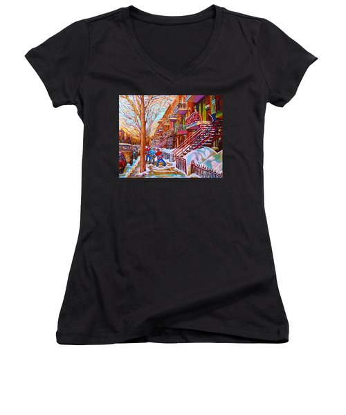 Street Hockey Game In Montreal Winter Scene With Winding Staircases Painting By Carole Spandau Women's V-Neck (Athletic Fit)