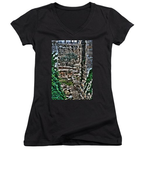 Women's V-Neck T-Shirt (Junior Cut) featuring the photograph Street In Jerusalem by Doc Braham