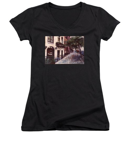 Women's V-Neck T-Shirt (Junior Cut) featuring the painting street in the Village NYC by Walter Casaravilla
