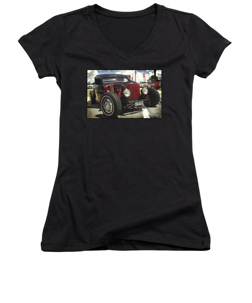 Street Rod Truck Women's V-Neck T-Shirt (Junior Cut) by James C Thomas