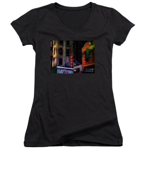 Women's V-Neck T-Shirt (Junior Cut) featuring the photograph Graffiti And Grand Old Buildings by Miriam Danar