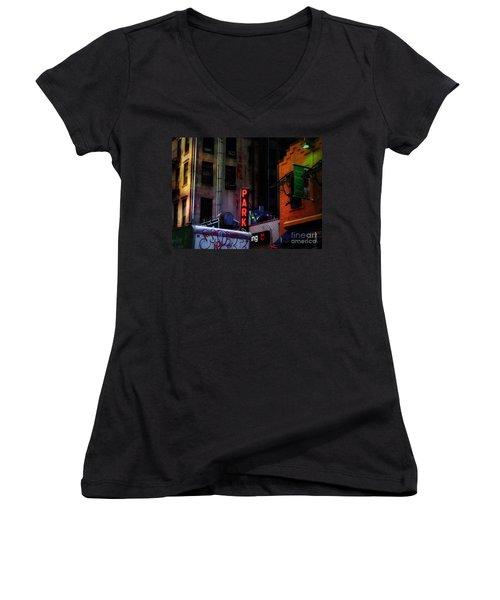 Graffiti And Grand Old Buildings Women's V-Neck T-Shirt (Junior Cut) by Miriam Danar