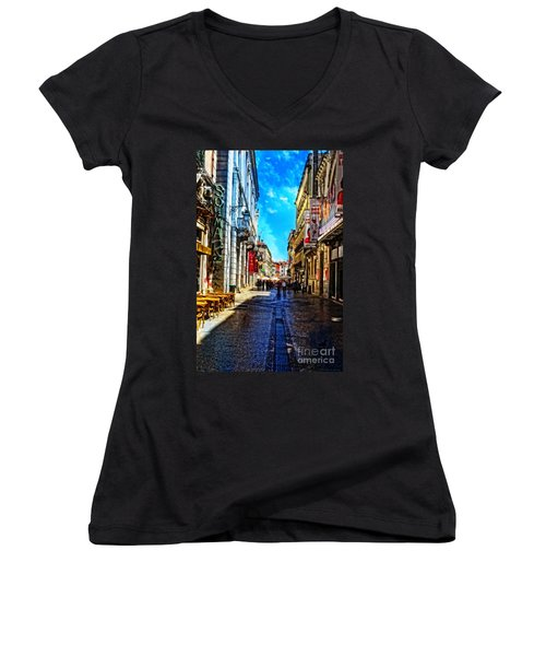 Streets Of Lisbon 1 Women's V-Neck T-Shirt (Junior Cut) by Mary Machare
