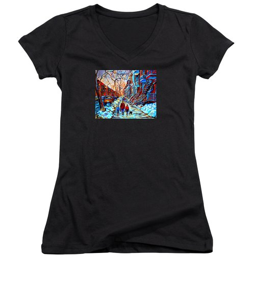 Streets Of Montreal Women's V-Neck T-Shirt (Junior Cut) by Carole Spandau