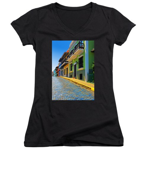 Streets Of Old San Juan Women's V-Neck (Athletic Fit)