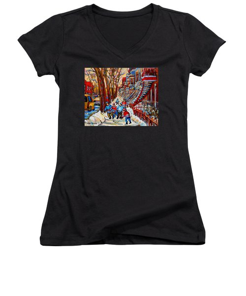 Streets Of Verdun Hockey Art Montreal Street Scene With Outdoor Winding Staircases Women's V-Neck (Athletic Fit)