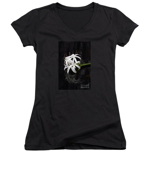 Women's V-Neck T-Shirt (Junior Cut) featuring the photograph String Lily #1 by Paul Rebmann