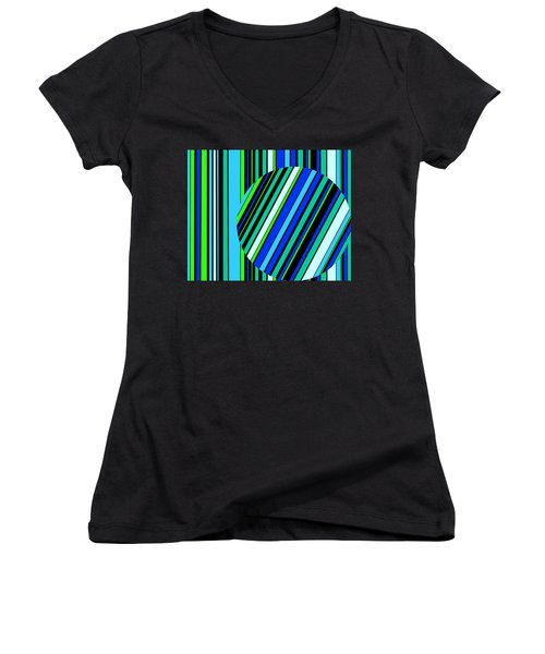 Striped Circle  C2014 Women's V-Neck (Athletic Fit)