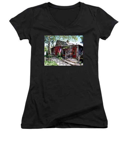 Women's V-Neck T-Shirt (Junior Cut) featuring the photograph Strode Mill West Chester Pa by Polly Peacock